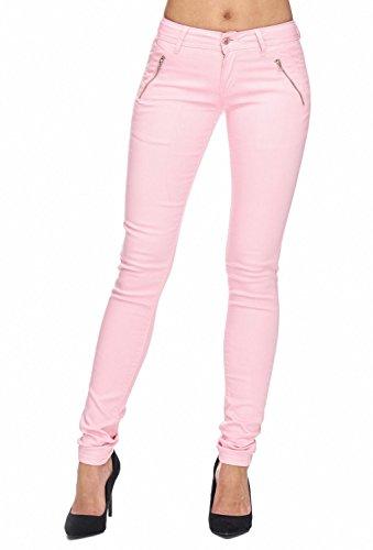 Arizonashopping - Hosen Pantaloni In Tessuto Da Donna Tube Treggings Skinny Fit D1943 Rosa
