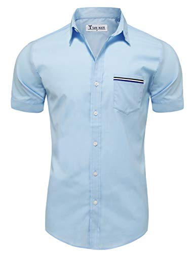 TAM WARE Mens Casual Chest Pocket Short Sleeve Button Down Shirts TWCMS06-SKYBLUE-US S