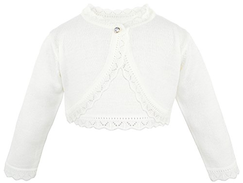 (Lilax Little Girls' Knit Long Sleeve Button Closure Bolero Cardigan Shrug 8 Cream)