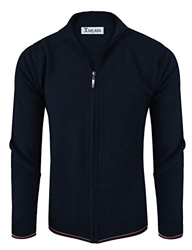 (TAM WARE Mens Stylish Colorblocked Full Zip Cardigan TWHD1016-1015-NAVY-US)