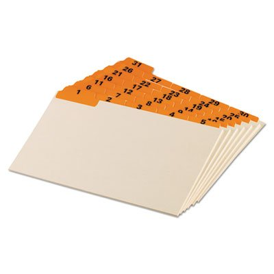 - Laminated Tab Index Card Guides, Daily, 1/5 Tab, Manila, 5 x 8, 31/Set