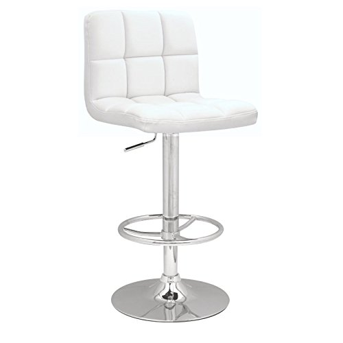 Chintaly Imports Stitched Seat and Back Pneumatic Gas Lift Adjustable Height Swivel Stool, Chrome/White PU