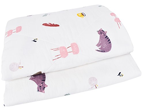 "J-pinno Boys & Girls Kitty Cats at Home Cotton Muslin Quilted Comforter Bedding Full, 100% Cotton Lightweight Throw Blanket for Kid's Bedroom (Full 78"" X 90"", 1)"