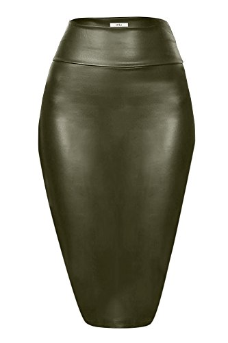 Simlu Olive Pencil Skirt Midi Leather Skirt for Women High Waisted Skirts, Made in USA, Olive Leather, Medium