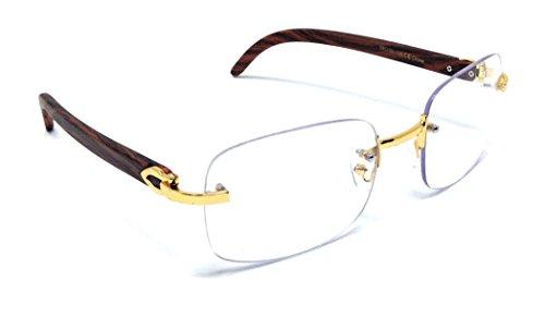 (Dasher Rimless Square Metal & Wood Eyeglasses/Clear Lens Sunglasses)