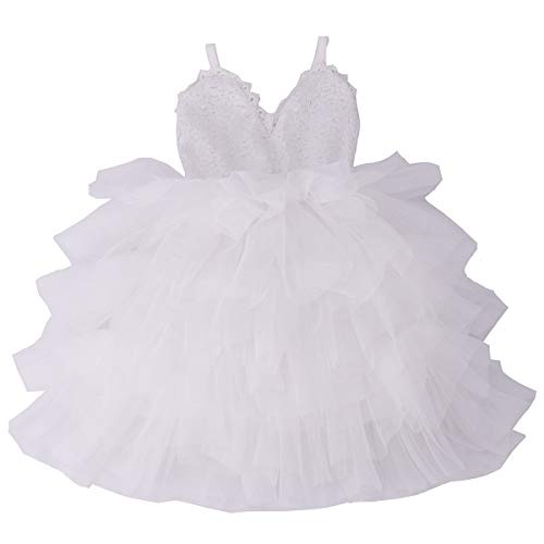 Cilucu Girls Dress Toddler Kids Party Dress Sequin Tutu Pageant Lace Dresses Gown for Flower Girl Baby White 3T-4T -