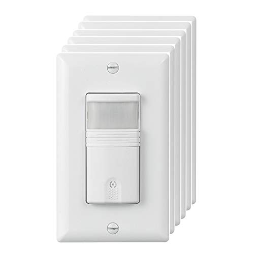 ECOELER Lighting Vacancy & Occupancy Motion Sensor Wall Switch, UL Listed, Title 24 Qualifed, 180° Field View, Neutral Wire Required, White,6 Pack by ECOELER (Image #9)