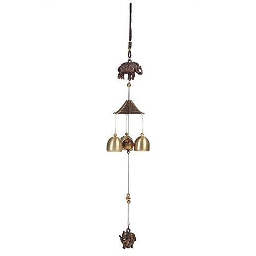 ACTLATI Retro Mini Elephant Wind Chime Metal Aeolian Bells Cute Animal Wind-bell Bell Home Yard Garden Door Hanging Decor Length 17.9″ For Sale