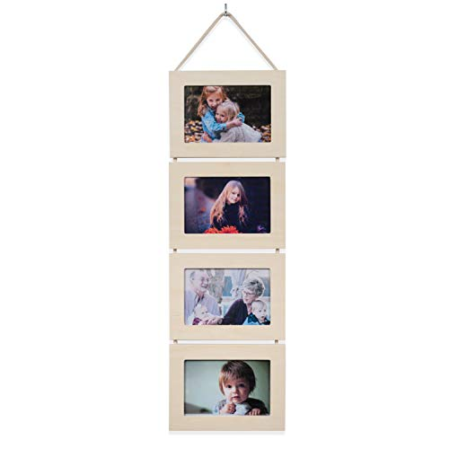 Wallniture DIY Unfinished Wood Wall Mounted Collage Picture Frames for 4 by 6 Photos -