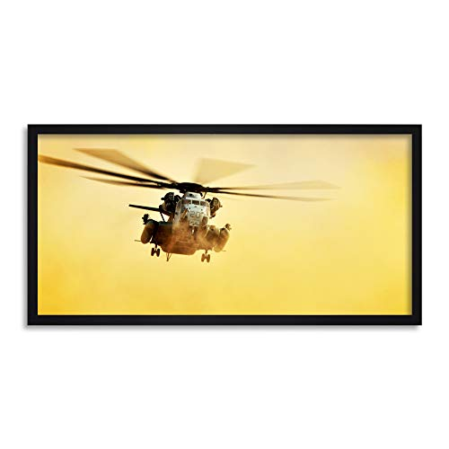 (Military USA Marine Corps CH-53E Super Stallion Helicopter Photo Framed Wall Art Print Long 25X12 Inch)