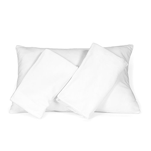 Set of 3 Pillowcases, White Snuggle Pillow Covers for Toddler/Travel Pillows
