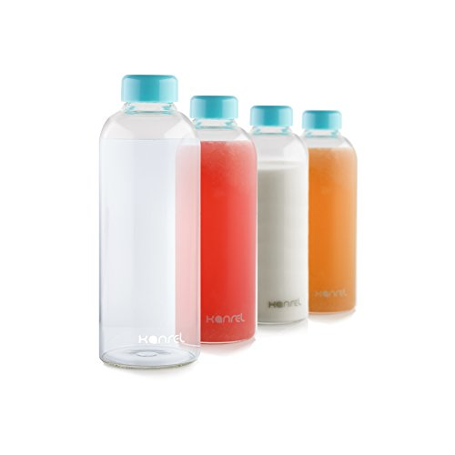 32 oz Glass Water Bottle (Set of 4) Blue Lid, Reusable Drinking Bottles, BPA Free & Eco Friendly, Ideal for Camping, Tennis, Kids, Travel, Sports, Gym, Yoga or Office - Dishwasher Safe & Easy Clean (Outdoor For Trees Sale Christmas Large)