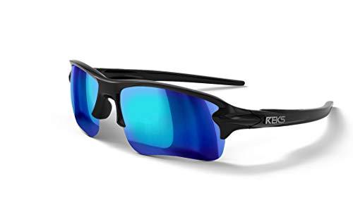 REKS Polarized Unbreakable SLING-BLADE Sunglasses, Black Frame, Blue Mirror Lens ()