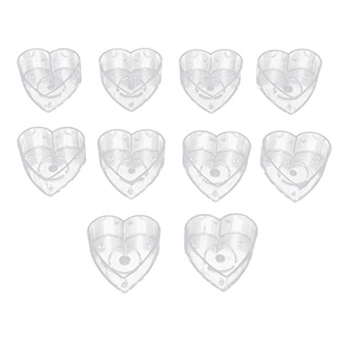 Baosity 10 Pieces Love Heart Tea Light Clear Plastic Cups Candle Mold Model for DIY Jelly Wax Gel Candles Tealight Votive Candle Scented Candles Gift 40x12mm