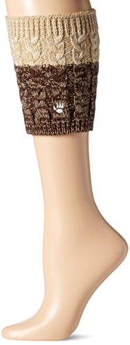 Bearpaw Women's Cable Knit Boot Topper, Tan, Tan/Brown Reversible, OS from BEARPAW