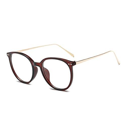 cadre mode plein Marron lentilles Huicai verres hommes en métal Retro femmes lunettes résine en cadre myopes qZZYzwX