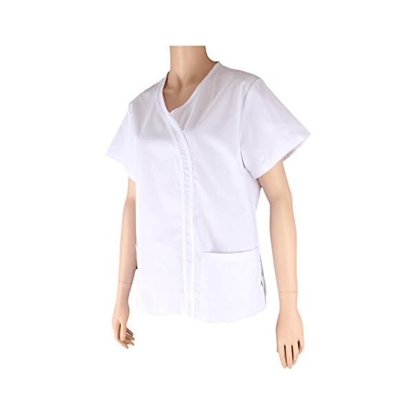 MISEMIYA Casaca Señora Mangas Cortas Uniforme Laboral Clinica Hospital Limpieza Veterinaria Sanidad Hostelería Camisa de utilidades de Trabajo para Mujer 4