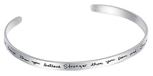 """Cuff 7"""" Stainless Steel Bracelet with Engraved """"You are braver than you believe..."""" - By Regetta Jewelry"""