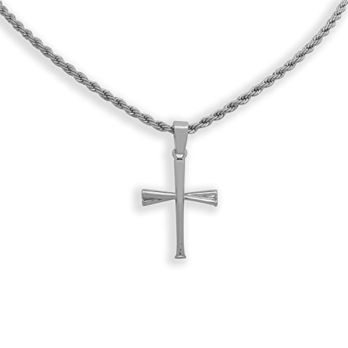 """White Gold-Tone Hip Hop Sports Baseball Bat Pendant with 24"""" Solid Rope Necklace Chain iRockBling"""