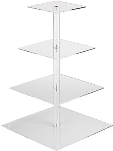 YestBuy 4 Tier Maypole Square Wedding Party Tree Tower Acrylic Cupcake Display Stand (18.7 Inches) ...