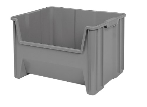 Akro Mils 13017 Stak N Store Stacking Hopper Front Plastic Storage Bin,  Grey, Case Of 3