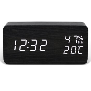HOMEE Clock-creative sound control luminous electronic clock fashionable living room wooden alarm clock,D by HOMEE