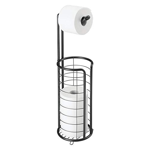 mDesign Modern Metal Freestanding Toilet Paper Roll Holder Stand and Dispenser with Storage for 3 Rolls of Reserve Toilet Tissue - for Bathroom Storage Organizing - Holds Mega Rolls - Matte Black (Bowl Compact Single)