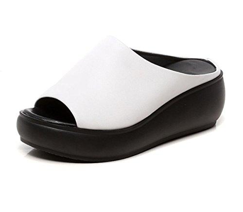 ff475b8304e60d DANDANJIE Damenschuhe Keilabsatz handgemachte Leder Slipper Sommer tragen  dicke Sohle Mode Outdoor Sandalen (Farbe... - sommerprogramme.de