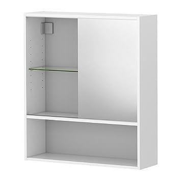 IKEA FULLEN -Spiegelschrank weiß - 60x67 cm: Amazon.de: Küche ... | {Spiegelschrank ikea bad 56}