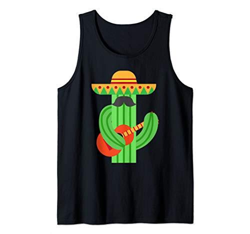 Mustache Cactus Playing Guitar Art Cute Cinco De Mayo Gift Tank Top