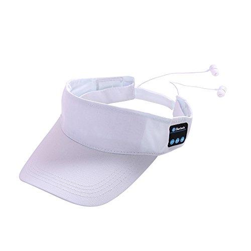 (HYIRI Outdoor Bluetooth Hat Summer Hat Stereo Talk Music Headphones Cap White)