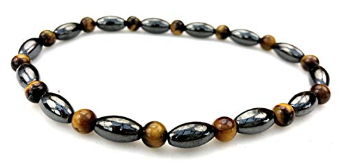 Purple Whale Magnetic Therapy Hematite Tiger Eye Gemstone Stretch Anklet Bracelet - hb017-9.5