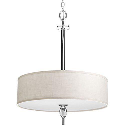 Contemporary Glass Ceiling Pendant Light - Progress Lighting P3680-15 4 LT Inverted Pendant Fixtures with K9 Glass Accent/Fabric Shade