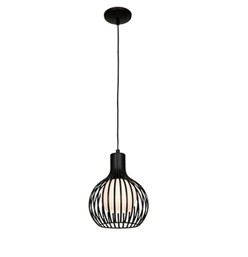 Access Lighting 23437-BL Chuki   One Light 8-Inch Diameter Pendant with Opal Glass Shade, Black Finish