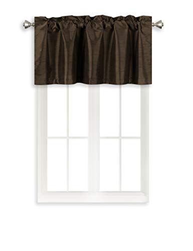 - Home Queen Solid Rod Pocket Blackout Curtain Valance Window Treatment for Living Room, Short Straight Narrow Window Valance, Set of 1, 37 X 18 Inch, Brown