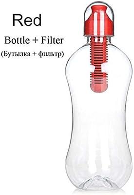 BWYFGRT 550Ml Purificador de Botella de Agua Potable portátil con Filtro al Aire Libre con Filtro Incorporado Deportes Camping Senderismo Viaje Botella de Agua. Rojo ...