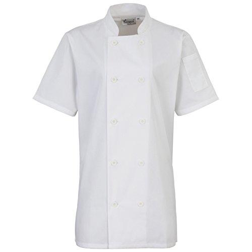 Premier Womens/Ladies Short Sleeve Chefs Jacket / Chefswear (L) (White) (Premier Cotton Jacket)