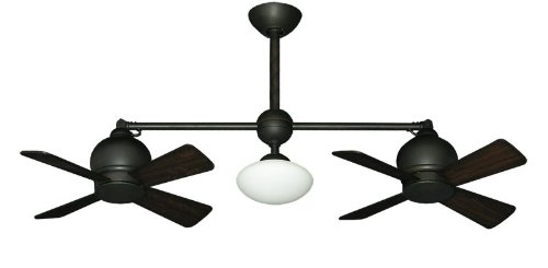 Metropolitan Modern Double Ceiling Fan in Oil Rubbed Bronze with Light & -