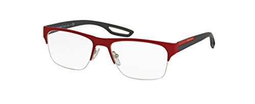 Prada Sport Eyeglasses PS55FV UAB1O1 Top Red Rubber On Steel 56 18 - Sport Apparel Prada