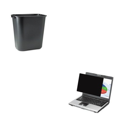 KITFEL4801101RCP295600BK - Value Kit - Fellowes Blackout Privacy Filter for 19amp;quot; Widescreen LCD/Notebook (FEL4801101) and Rubbermaid-Black Soft Molded Plastic Wastebasket, 28 1/8 Quart (RCP295600BK)