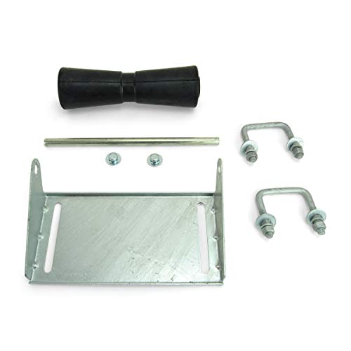 Sturdy Built 12 inch Black Rubber Boat Trailer Keel Roller and Bracket Kit for 2x3 Cross Members