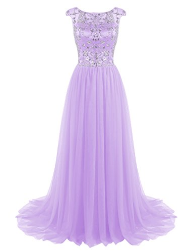 Tideclothes Long Beads Prom Dress Tulle Cap Sleeves Evening Dress Lavender US2 (Big Poofy Dresses)