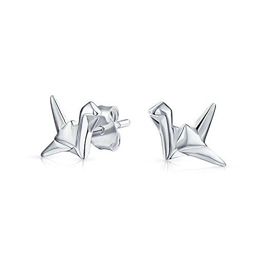Bling Jewelry .925 Silver Origami Swan Animal Stud (Origami Swan)