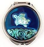 Compact Mirror of a Round Mother of Pearl and Abalone Sea Turtle and Ocean