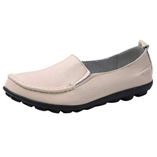 Comfy Loafers for Women,QueenMM Womens Slip-On Rubber Sole Leather Flats Casual Lightweight Nurse Shoes (The Simpsons Golf Club Covers)