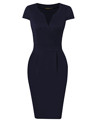 HiQueen Vintage V neck Business Bodycon