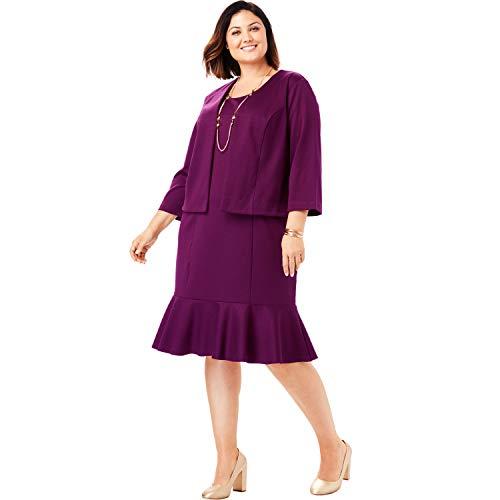 Jessica London Women's Plus Size Ponte Jacket Dress - Dark Berry, 20