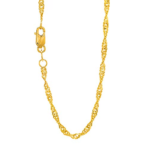 JewelStop 10k Solid Gold Yellow 1.5 mm Singapore Rope Sparkle Chain Necklace, Lobster Claw -16