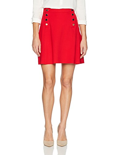 Three Dots Women's Ponte a-Line Loose Short Skirt, Current, Large by Three Dots