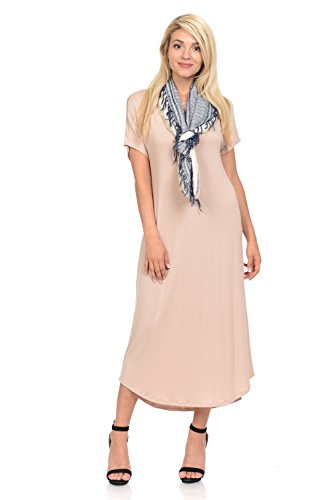 iconic luxe Women's A-Line Short Sleeve Midi Dress X-Large Oatmeal